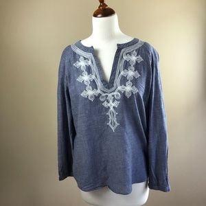 J Crew Factory Blue Cotton Embroidered Blouse